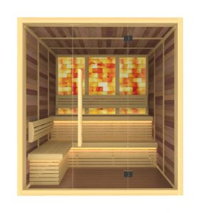 Сауна със солна стая, сауна със стена от сол, сауна със солна стена